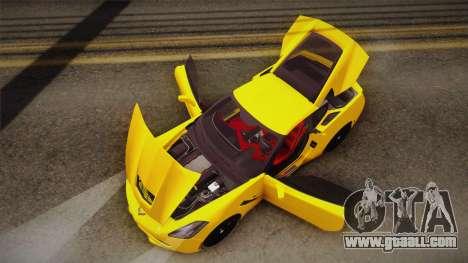 Chevrolet Corvette Stingray 2015 for GTA San Andreas bottom view