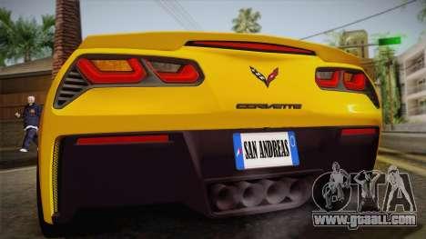 Chevrolet Corvette Stingray 2015 for GTA San Andreas inner view