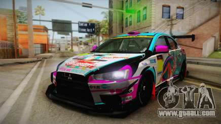 Mitsubishi Lancer Evolution X 2008 Racing Miku for GTA San Andreas