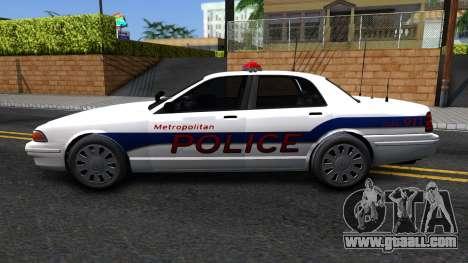 Vapid Stanier Metropolitan Police 2009 for GTA San Andreas left view