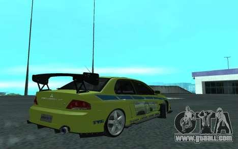 Mitsubishi Lancer Evolution VII for GTA San Andreas right view