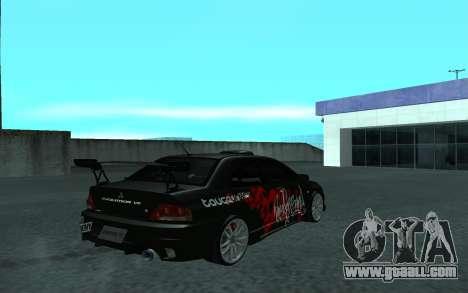 Mitsubishi Lancer Evolution VII for GTA San Andreas inner view