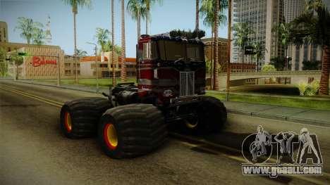 Peterbilt Monster Truck for GTA San Andreas back left view
