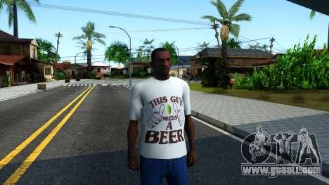 White Beer T-Shirt for GTA San Andreas second screenshot