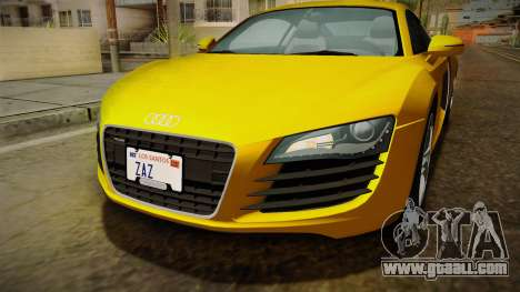 Audi R8 Coupe 4.2 FSI quattro EU-Spec 2008 Dirt for GTA San Andreas upper view