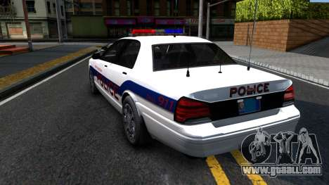 Vapid Stanier Metropolitan Police 2009 for GTA San Andreas back left view