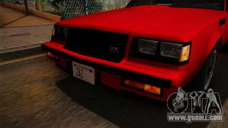 Buick GNX 1987 for GTA San Andreas upper view