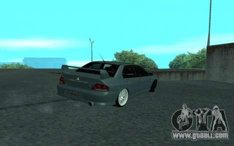 Mitsubishi Lancer Evolution VII for GTA San Andreas upper view