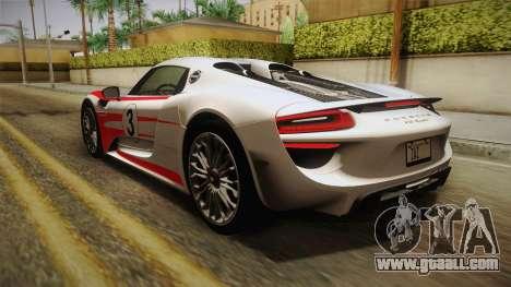 Porsche 918 Spyder 2013 EU Plate for GTA San Andreas wheels