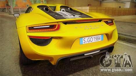 Porsche 918 Spyder 2013 EU Plate for GTA San Andreas interior