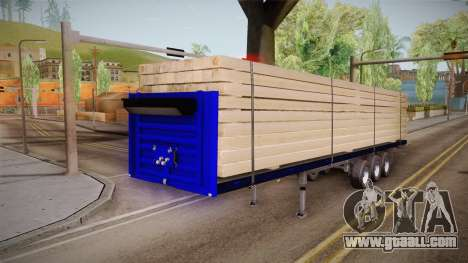 Flatbed Trailer Blue for GTA San Andreas back left view