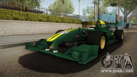 F1 Lotus T125 2011 v1 for GTA San Andreas back left view