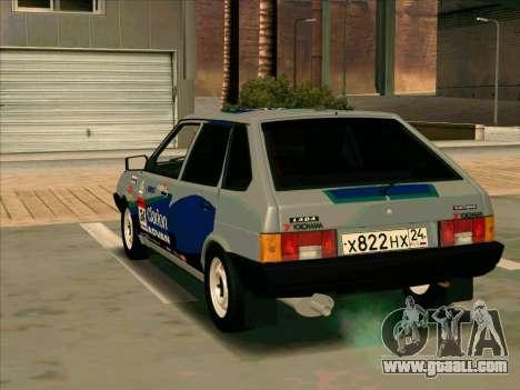 VAZ-2109 RАLLY SKIN for GTA San Andreas back left view
