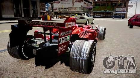 Formula 1 - LaFerrari F2007 for GTA 4 back left view