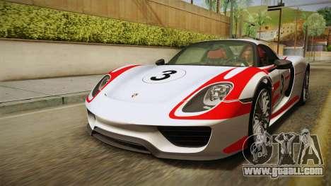 Porsche 918 Spyder 2013 EU Plate for GTA San Andreas engine