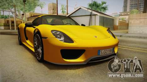 Porsche 918 Spyder 2013 EU Plate for GTA San Andreas right view