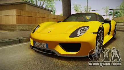 Porsche 918 Spyder 2013 EU Plate for GTA San Andreas