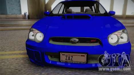 Subaru Impreza Wagon 2004 for GTA San Andreas right view