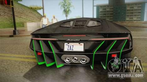 Lamborghini Centenario LP770-4 2017 Carbon Body for GTA San Andreas inner view