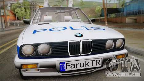 BMW 323i E30 Turkish Police for GTA San Andreas back left view
