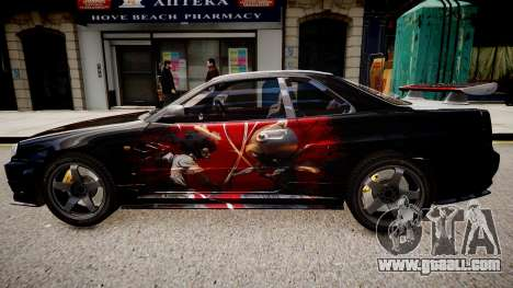 Nissan Skyline R34 Paintjob by eXTaron for GTA 4 left view