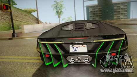 Lamborghini Centenario LP770-4 2017 Carbon Body for GTA San Andreas upper view