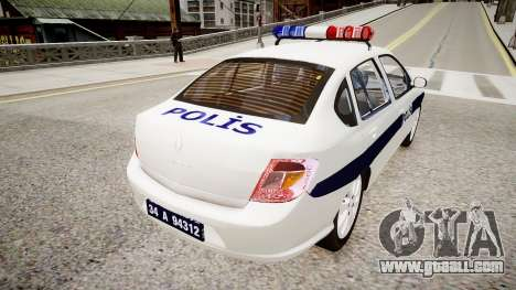 Renault Clio Symbol Police 2011 for GTA 4 back left view