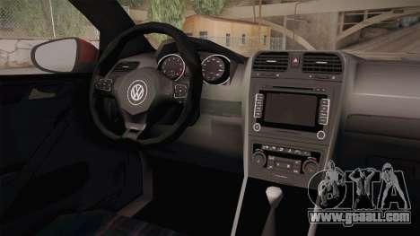 Volkswagen Golf 1.6 for GTA San Andreas inner view