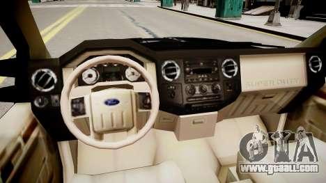 Ford F 350 Super Duty DUB 2010 for GTA 4 inner view