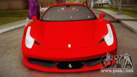 Ferrari 458 Italia for GTA San Andreas right view