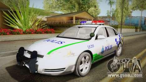 Chevrolet Impala Police Malaysia for GTA San Andreas back view