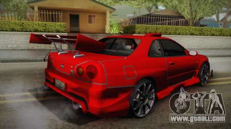 Nissan Skyline R34 Tuned for GTA San Andreas left view