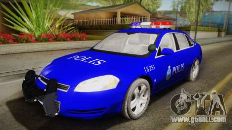 Chevrolet Impala Police Malaysia for GTA San Andreas inner view