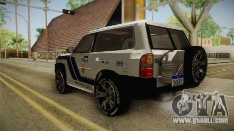 Nissan Patrol Y61 Police for GTA San Andreas back left view
