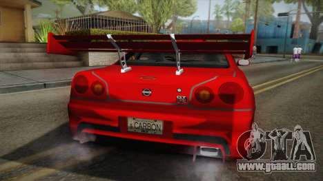 Nissan Skyline R34 Tuned for GTA San Andreas back view
