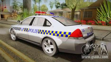Chevrolet Impala Police Malaysia for GTA San Andreas left view