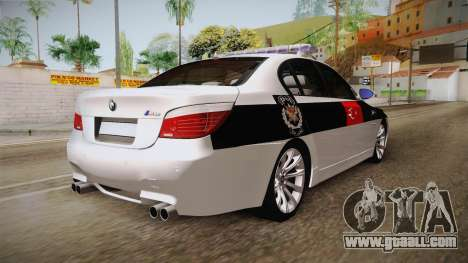 BMW M5 E60 Turkish Police for GTA San Andreas back left view