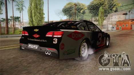 Chevrolet SS Nascar 3 Dow 2017 for GTA San Andreas back left view