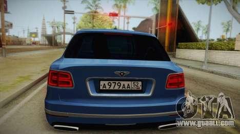 Bentley Bentayga for GTA San Andreas back view