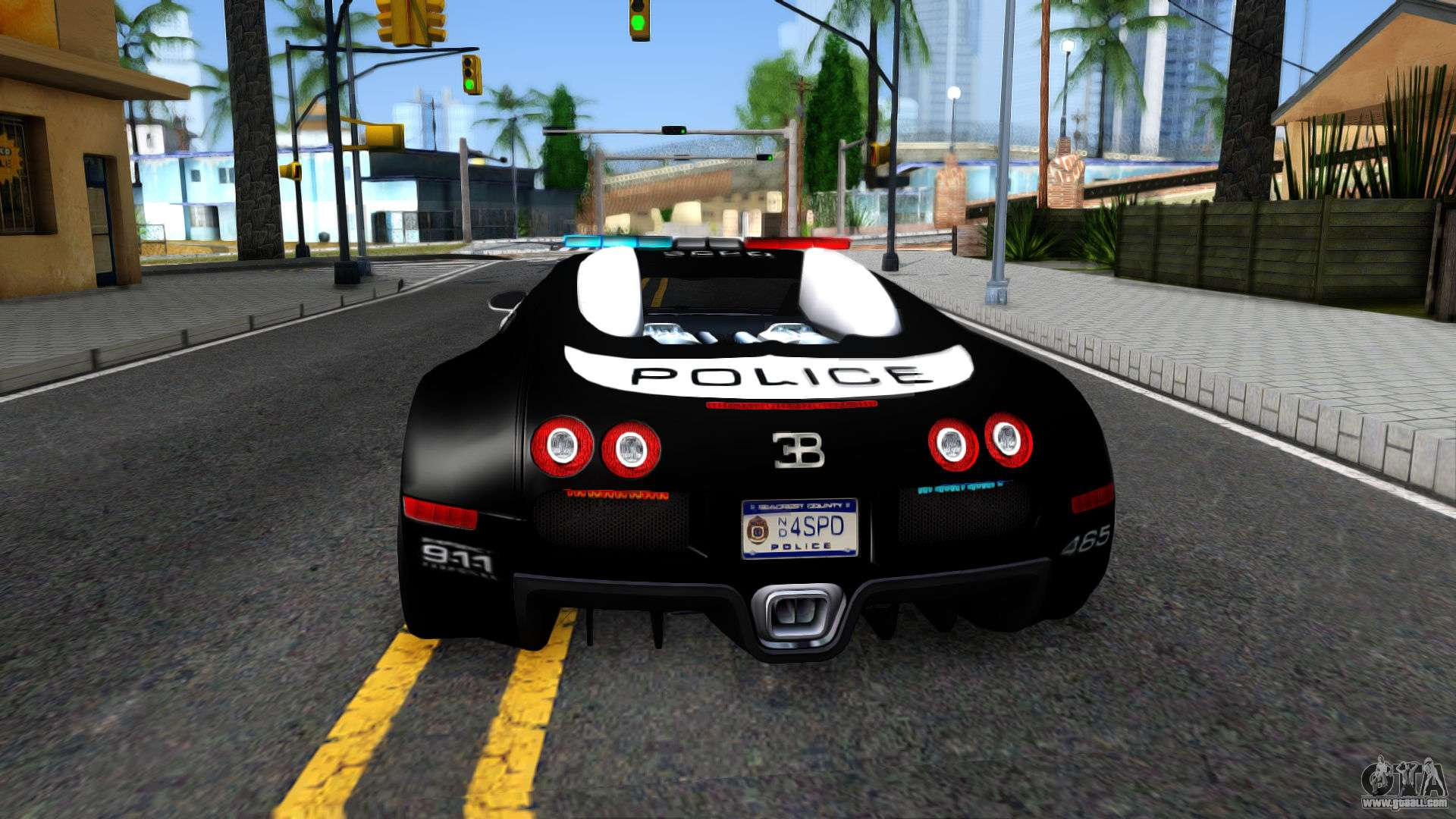 Bugatti Veyron NFS HP Police For GTA San Andreas Back Left View