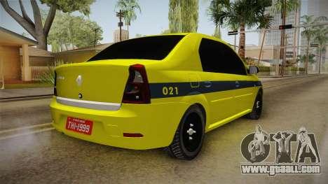 Renault Logan Taxi of Rio de Janeiro for GTA San Andreas back left view