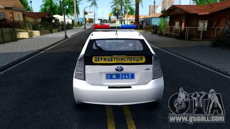 Toyota Prius Ukraine Police for GTA San Andreas back left view