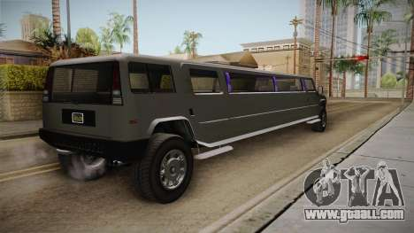 GTA 5 Mammoth Patriot Limo IVF for GTA San Andreas back left view