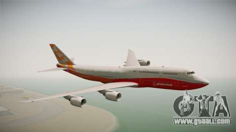 Boeing 747-8I Sunrise Livery for GTA San Andreas back left view