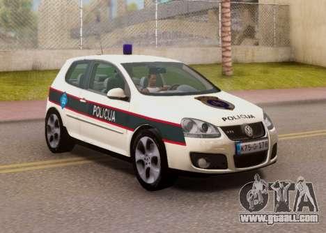 Golf V BIH Police Car V2 (Single Siren) for GTA San Andreas