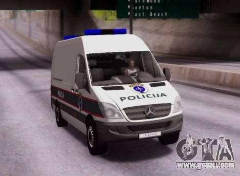 Mercedes-Benz Sprinter BIH Police Van for GTA San Andreas back view