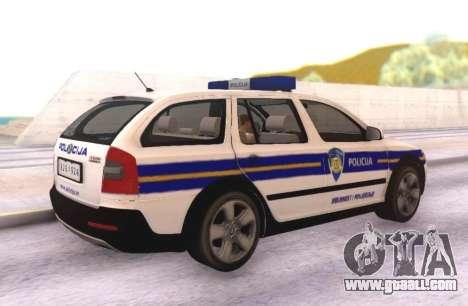 Skoda Octavia Scout Croatian Police Car for GTA San Andreas back left view