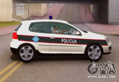 Golf V BIH Police Car V2 (Single Siren) for GTA San Andreas left view