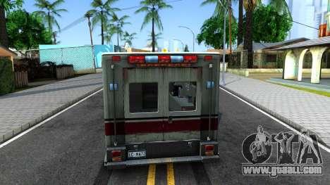 Resident Evil Ambulance for GTA San Andreas back left view