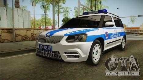 Skoda Yeti Serbian Border Police for GTA San Andreas back left view